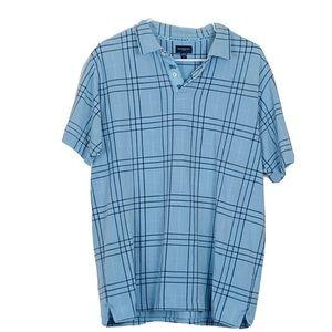 Burberry Golf Blue Plaid Button Front Polo Shirt L